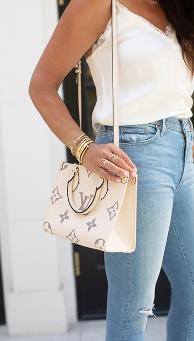 Lifestyle photo of Chantelle Malarkey wearing her Louis Vuitton On The Go PM tote FASHIONPHILE