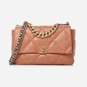 A product image of the Brown Large Chanel 19 Flap Bag