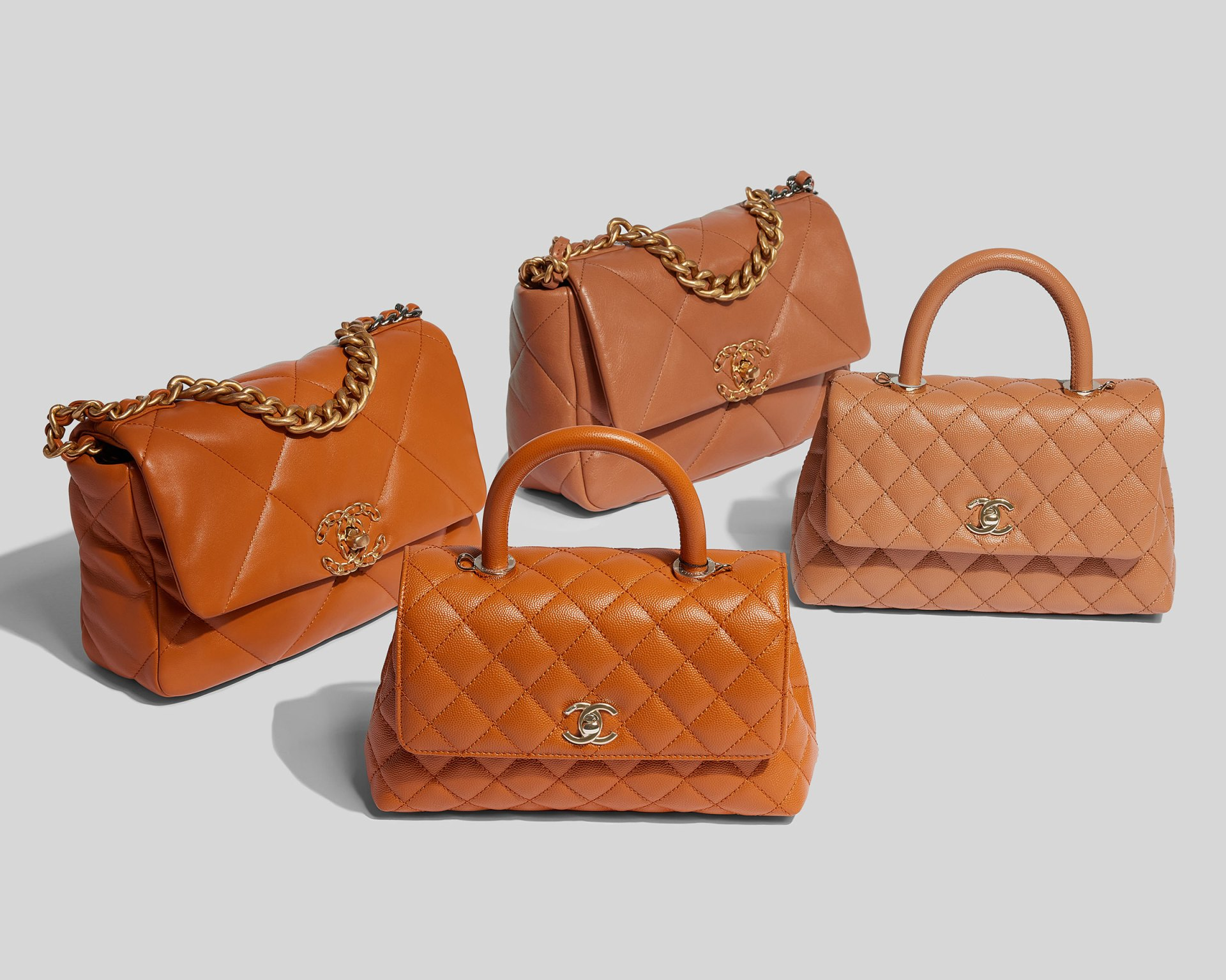 Product image of the Chanel mini coco handle bags and the Chanel 19 bags in Brown and Caramel colors