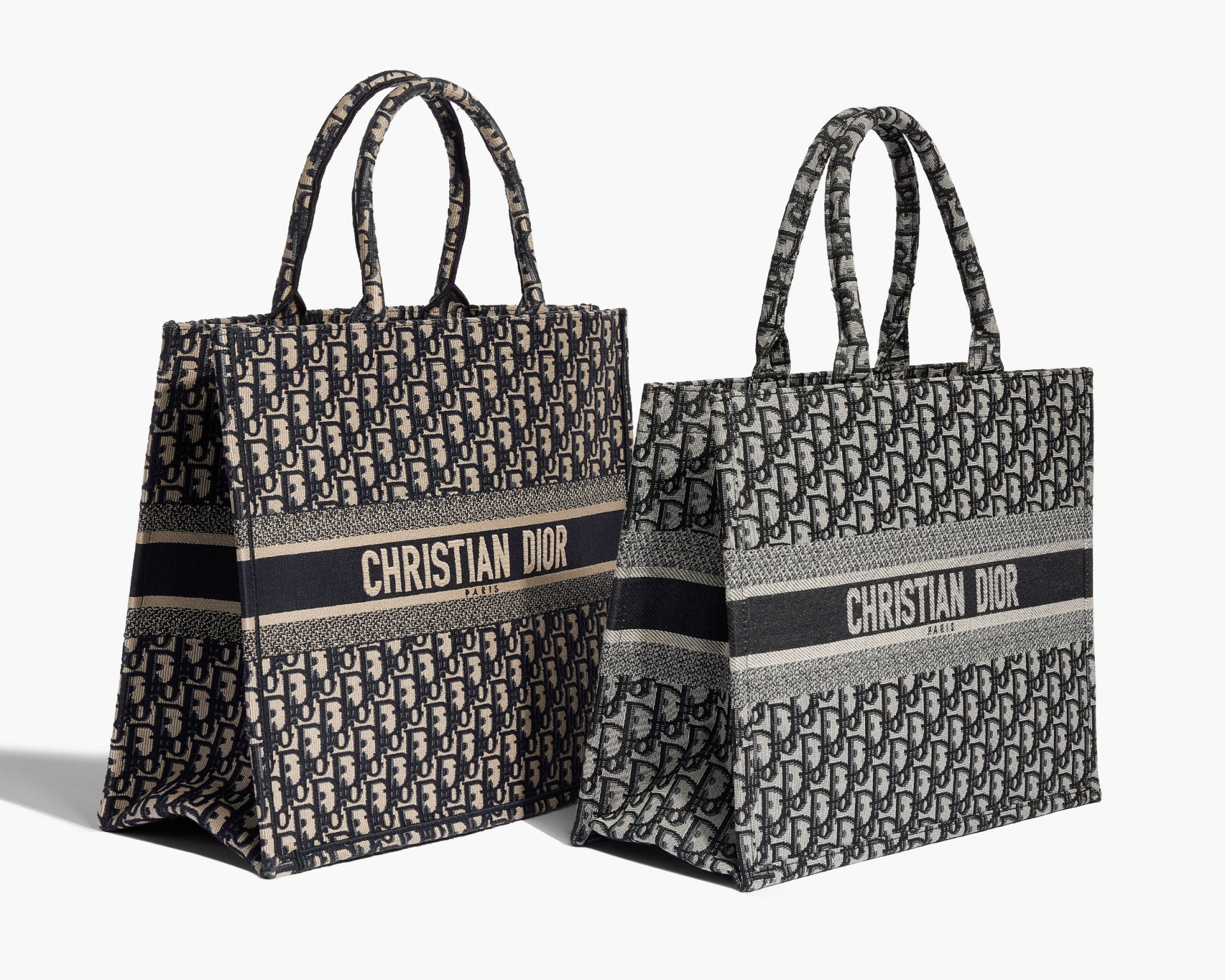 Studio image of real and fake Christian Dior Oblique book totes side by side