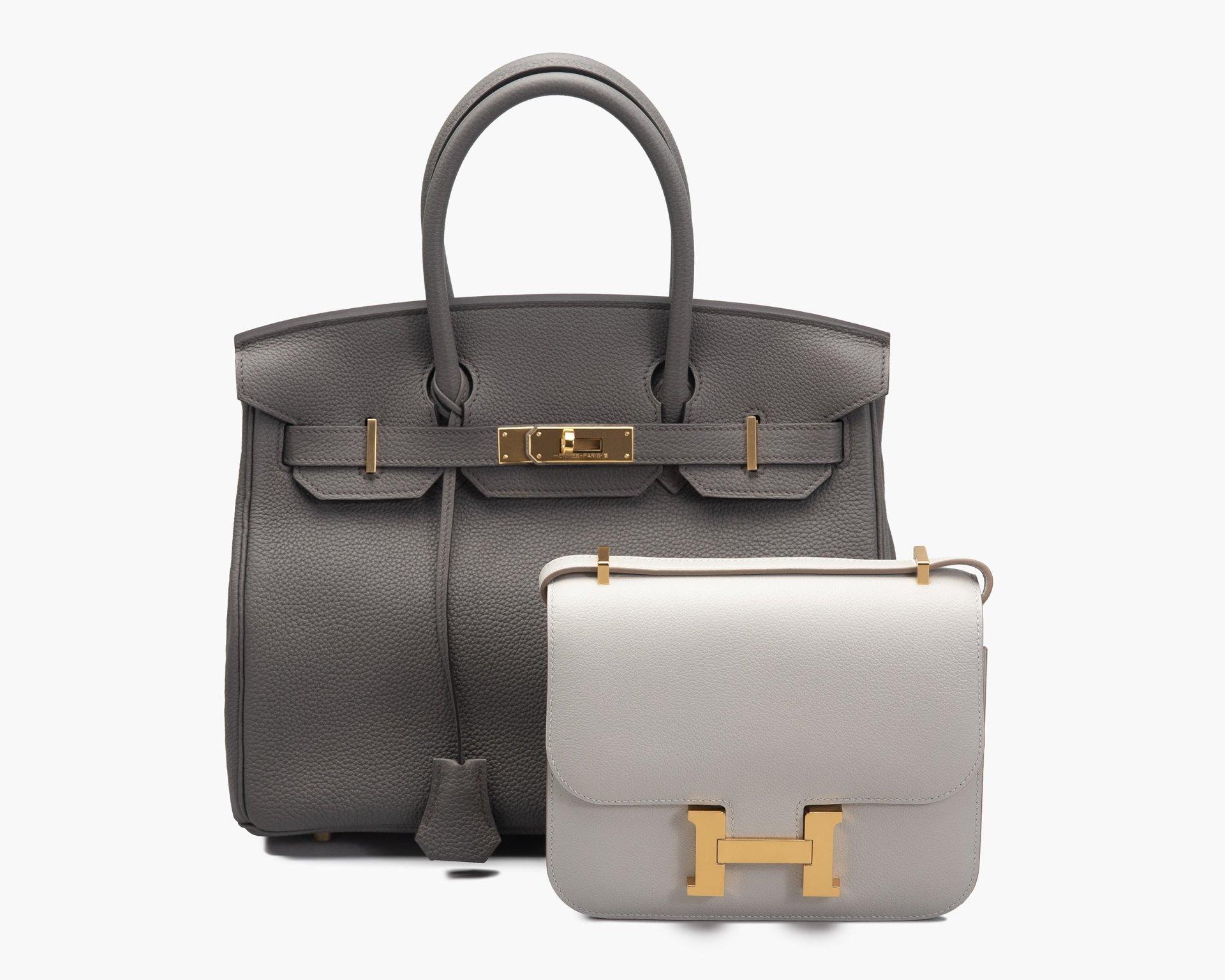 Studio image of Hermes Birkin bag and Clemence bag Grey FASHIONPHILE