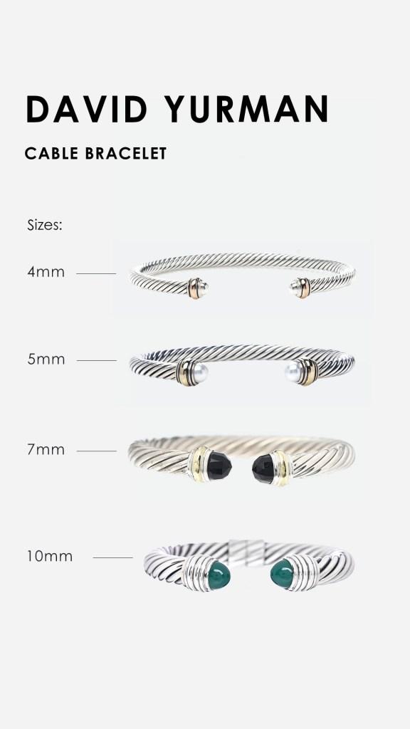 Design Graphic that shows Popular David Yurman Cable Bracelet Sizes FASHIONPHILE