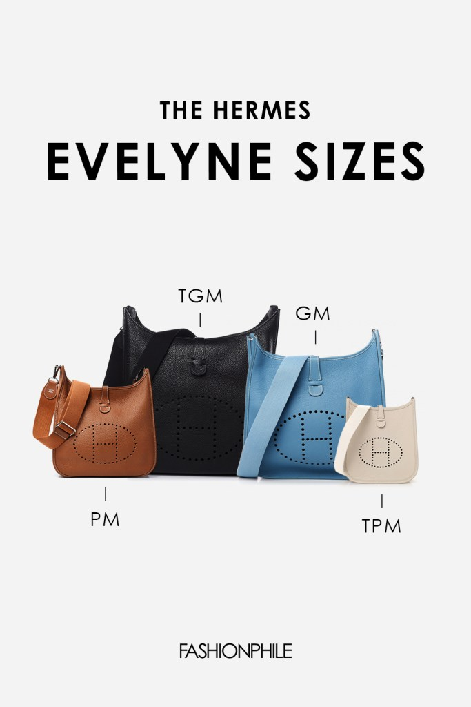 Design graphic of Hermes Evelyne Sizes FASHIONPHILE
