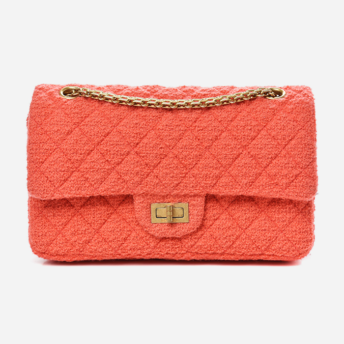product image of plain Chanel tweed coral Reissue bag FASHIONPHILE