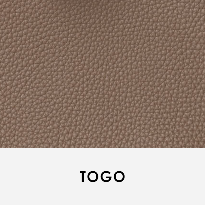 close up image of leather swatch Togo Hermes