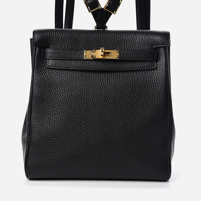 product image of Hermes Taurillon Clemence Kelly Ado Backpack Black FASHIONPHILE