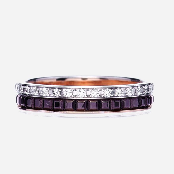product image BOUCHERON 18K Pink White Gold PVD Diamond Quatre Classique Wedding Band Ring FASHIONPHILE