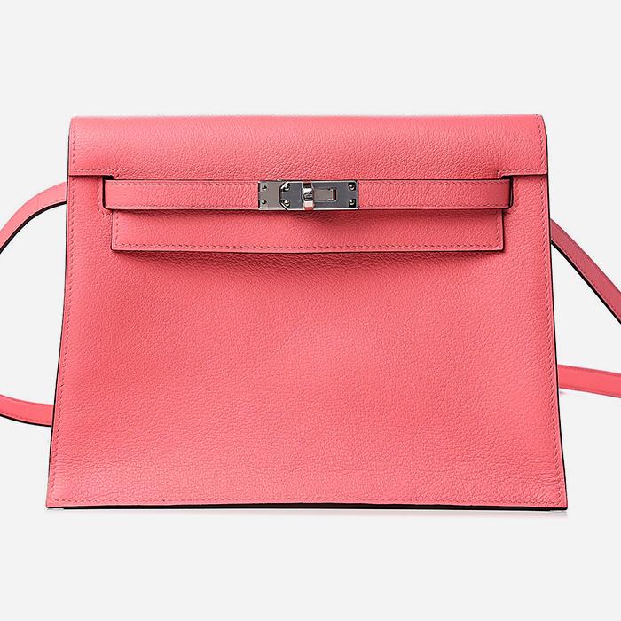 product image of Hermes Evercolor Kelly Danse II Belt Bag Rose Ete FASHIONPHILE