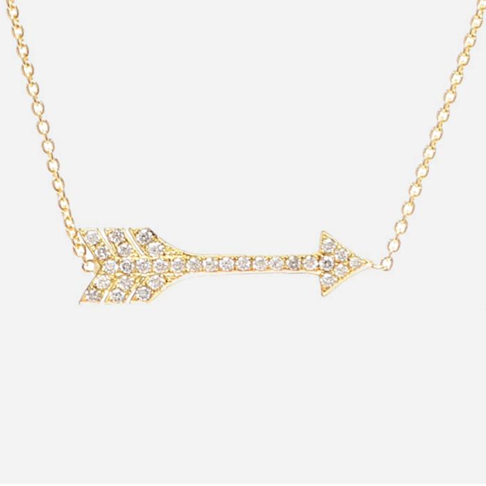 product image of JENNIFER MEYER 18K Yellow Gold Diamond Arrow Necklace FASHIONPHILE