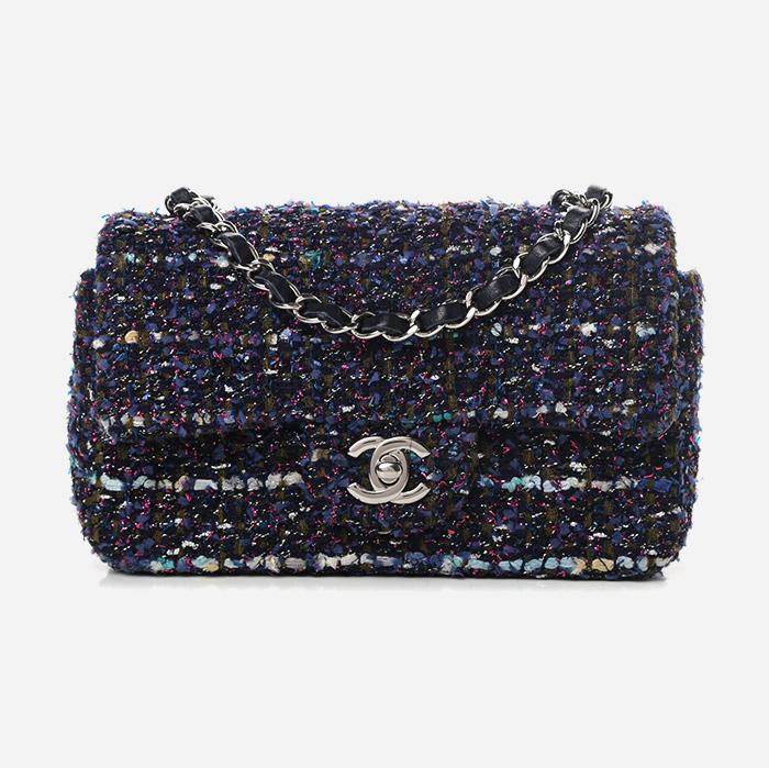 product image of blue multicolor Chanel fantasy tweed handbag at FASHIONPHILE